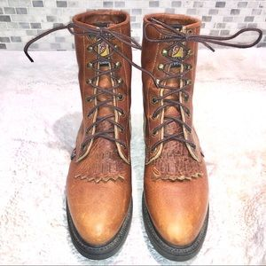 "Justin 8"" tall lace up leather boots"